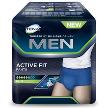 tena men active fit pants mis. large cfx8 ctx4
